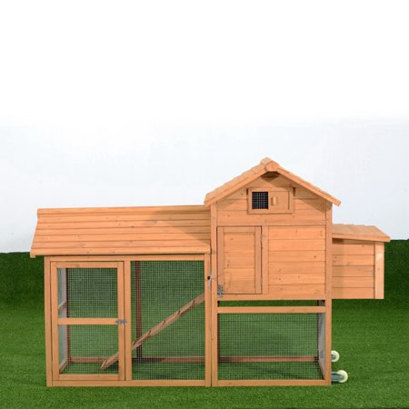 Pawhut Deluxe Portable Backyard Chicken Coop with Fenced Run and