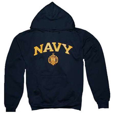 Navy Midshipmen Hooded Sweatshirt By Champion, Arched Over Seal Print, Navy