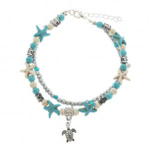 Fancyleo Vintage Shell Beads Starfish Sea Turtle Anklets For Women New Multi Layer Anklet Leg Bracelet Handmade Jewelry