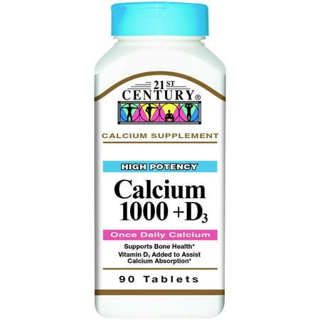 21st Century Calcium 1000 + D Tablets 90 ea
