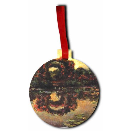 Artist Claude Monet's Flowering Arches Flat Round Shaped Hardboard Hanging Christmas Holiday Tree Ornament Made in the (Arch Hardboard)