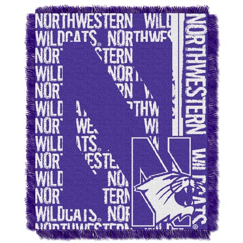 Northwestern Jacquard Woven Throw Blanket