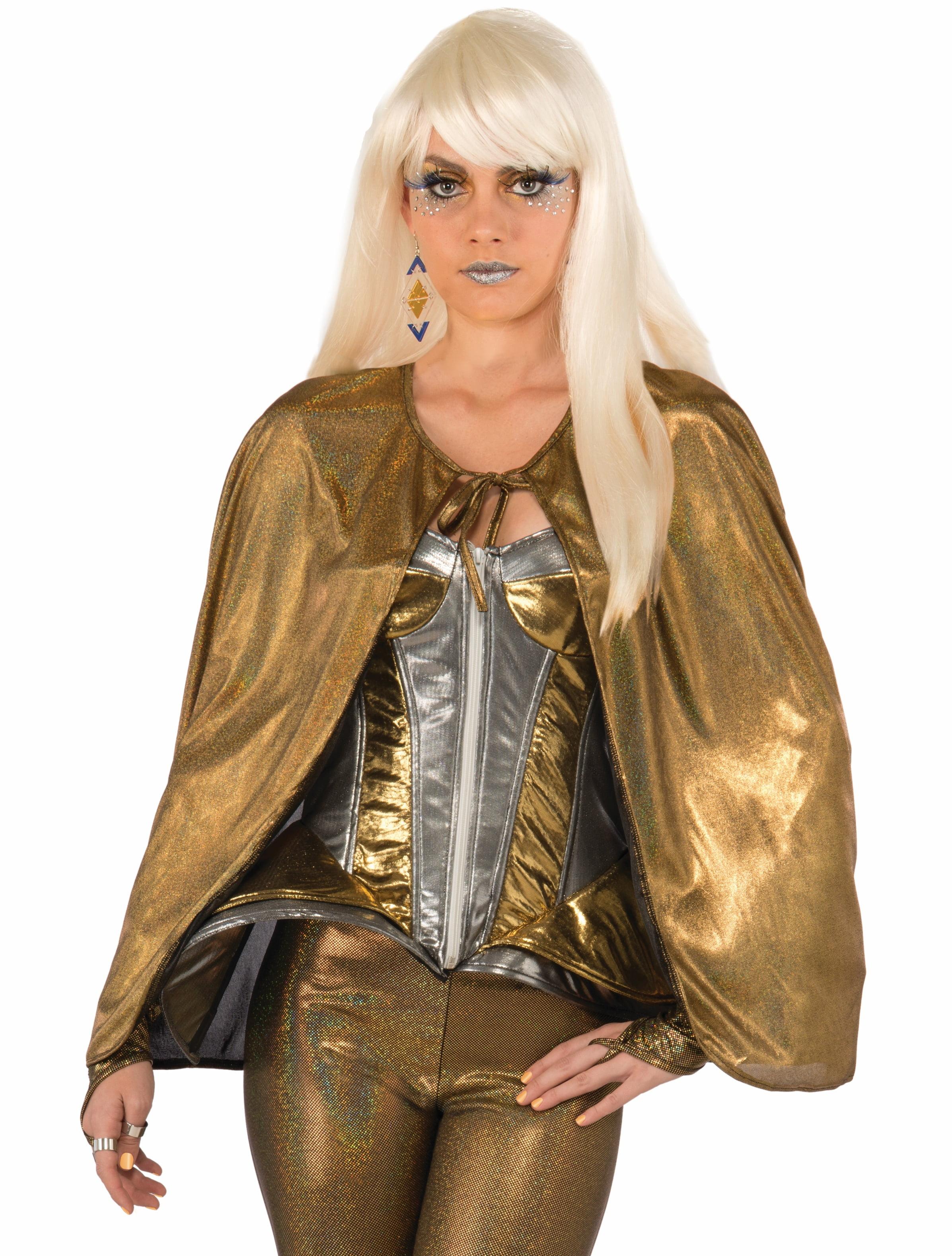 Metallic Gold Futuristic 25 Short Cape Adult Outer Space Diva