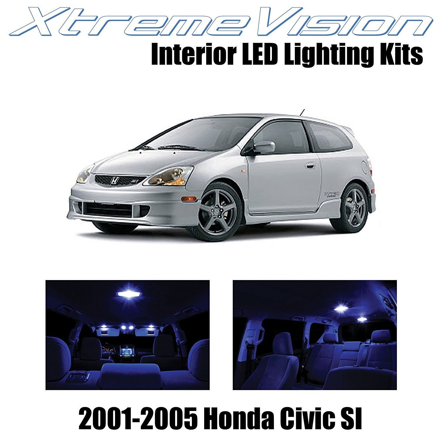 XtremeVision LED for Honda Civic SI Only 2001-2005 (7 Pieces) Pure White Premium Interior LED Kit Package + Installation Tool