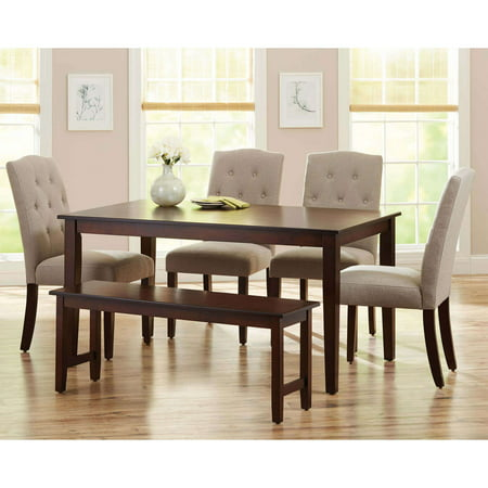 Better Homes and Gardens 6-Piece Dining Set, Mocha/Beige - Walmart.com