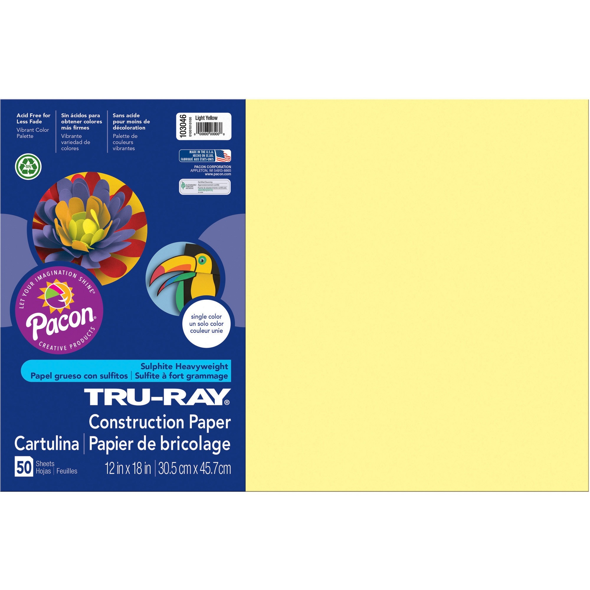 Tru-Ray, PAC103046, Heavyweight Construction Paper, 1 Pack, Light Yellow