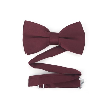 TopTie Mens Formal Tuxedo Solid Color Satin Bow Tie Classic Pre-Tied Bow Tie-Burgundy-1 pack
