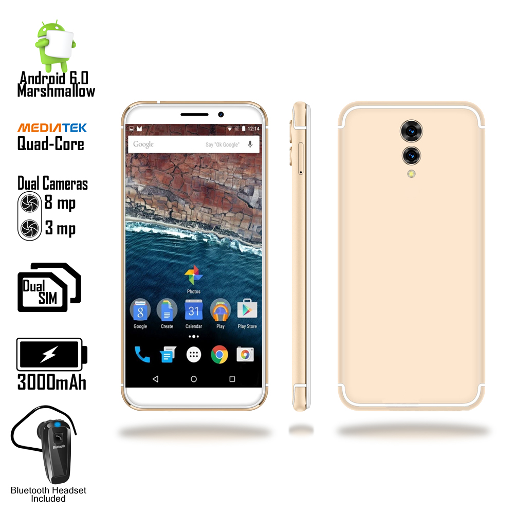 Indigi? 4G LTE Unlocked 5.6inch Display Android Marshmallow DualSim SmartPhone + Bluetooth Bundle