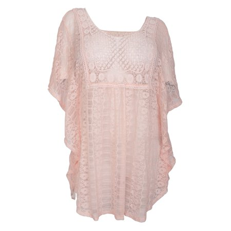 eVogues Plus Size Sheer Crochet Lace Poncho Top Baby Pink 19618