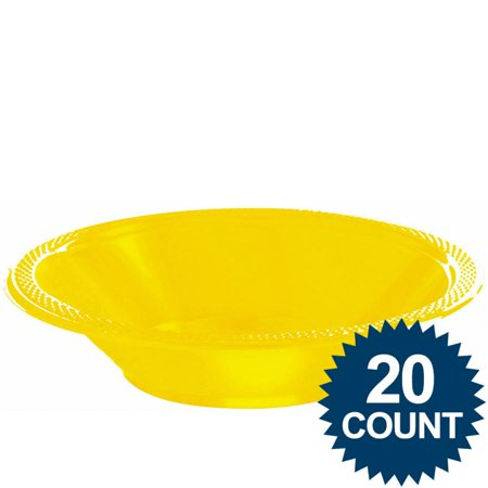Bright Yellow Plastic 12oz. Bowls (20 Pack) - Party Supplies - Yellow Plastic Bowls