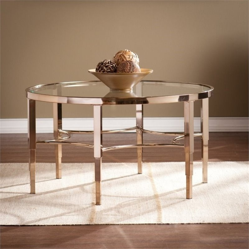 Pemberly Row Round Glass Coffee Table in Gold