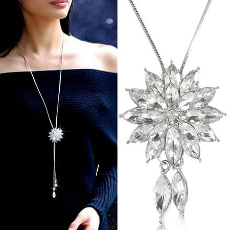 Fashionable Women Long Necklace Sweater Chain Rhinestone Flower Pendant DecorationSweater Necklace Pendant Necklace Gift for Women Mom (Volleyball Mom Rhinestone)
