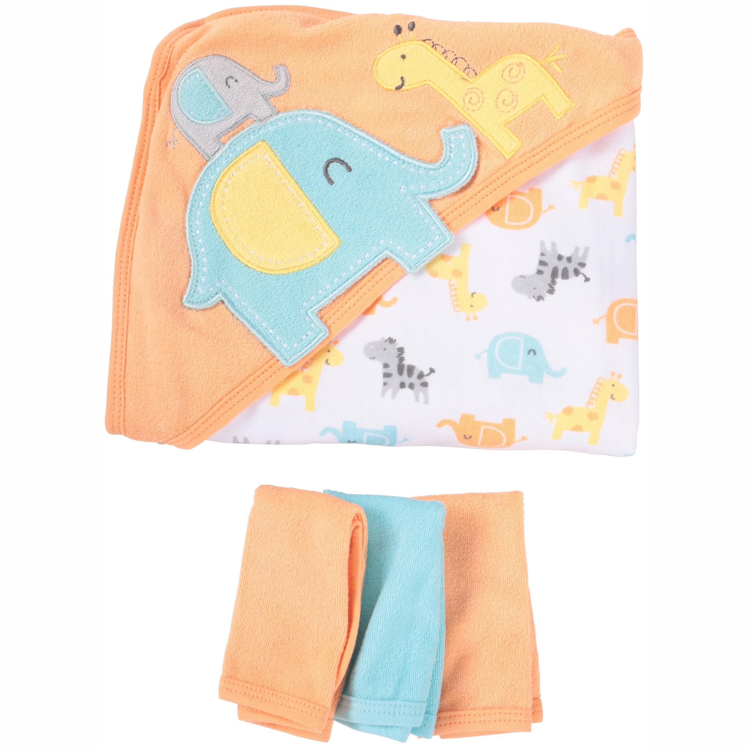 Gerber Newborn Baby Towel and Washcloths Bath Gift Set, Safari, 4 PIece