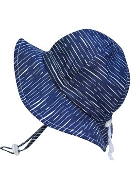 Toddler Sun Hat, Size Adjustable, 50+ UPF Cotton(M: 6m - 3Y, Navy waves)