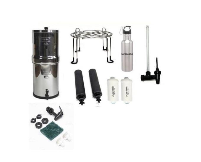 Big Berkey Water Purifier with 2 Black , 2PF2, Wirestand, Spigot, Bottle & Kit by Berkey