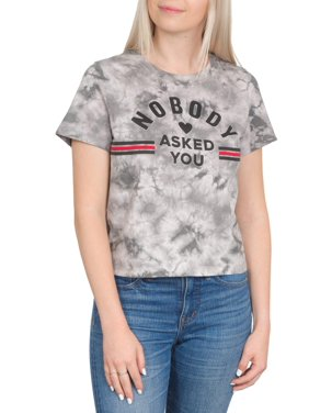 b06dac36 Product Image Juniors' Nobody Asked You Generic Crop Graphic Short Sleeve T- Shirt