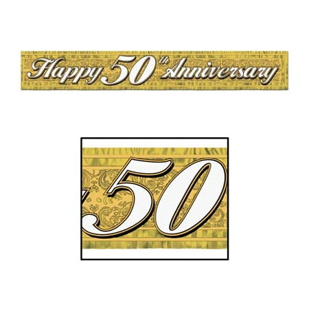 50th Anniversary Party Gold Fringe Banner (50th Wedding Anniversary Banners)