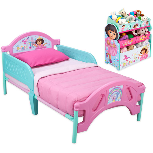 Dora Toddler Bed and Multi Bin Organizer Bundle