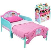 Dora Toddler Bed and Multi Bin Organizer Bundle