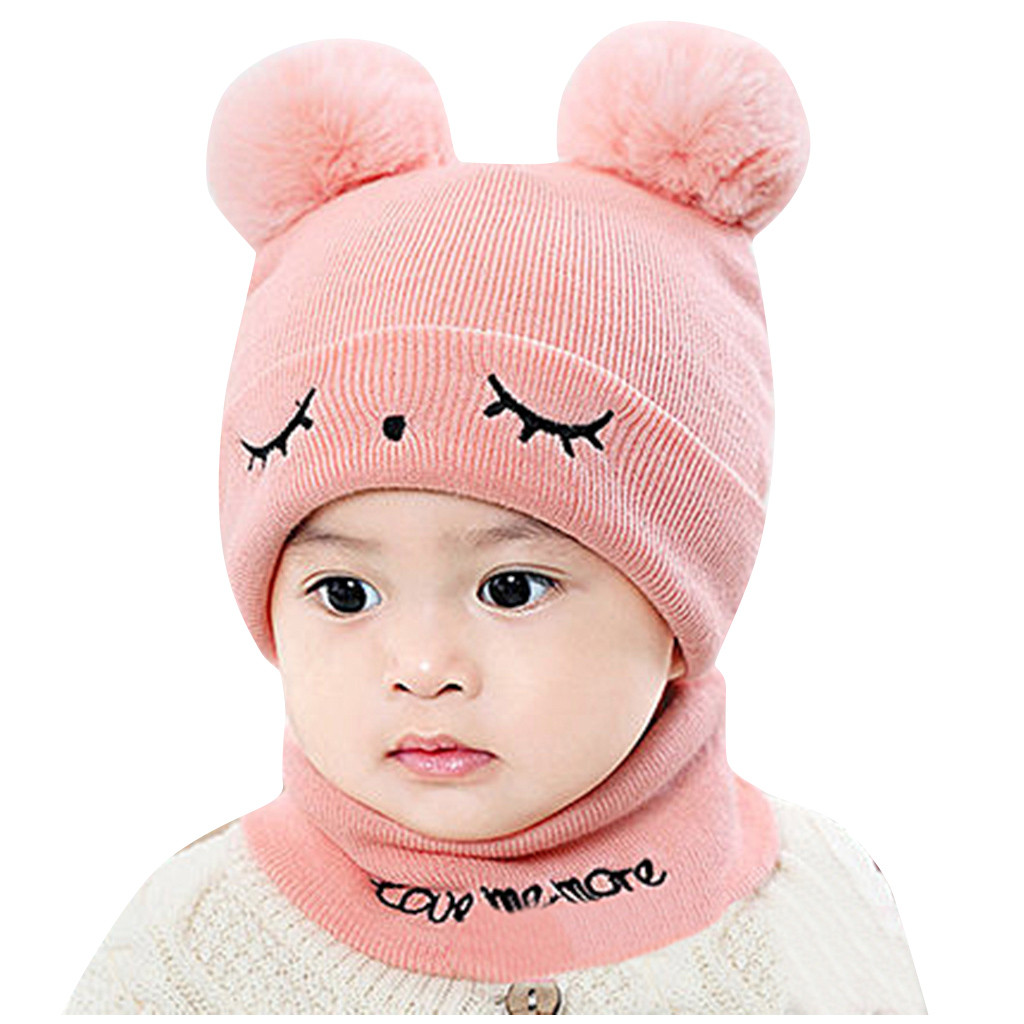 Details about  /Toddler Infant Baby Boy Girl Pompom Winter Warm Knit Crochet Beanie Cap Scarf