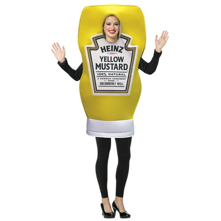 Heinz Mustard Squeeze Bottle Neutral Adult Halloween Costume, One Size, (40-46) (Bottle Costume)