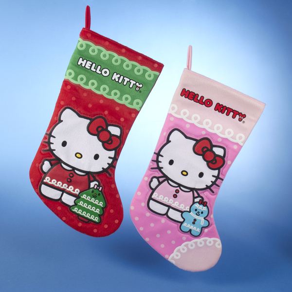 Pack of 6 Satin Hello Kitty Christmas Tree\/Gingerbread Applique Stockings 19