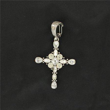 M&F Western 30154 Charm Crystal Oval Cross Pendant, Clear Rhinestones