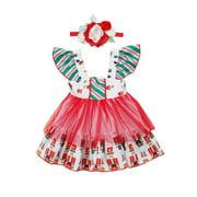 Infant Baby Toddler Girl Dress Flower Princess Party Xmas Tulle TUTU Dresses+Headbands