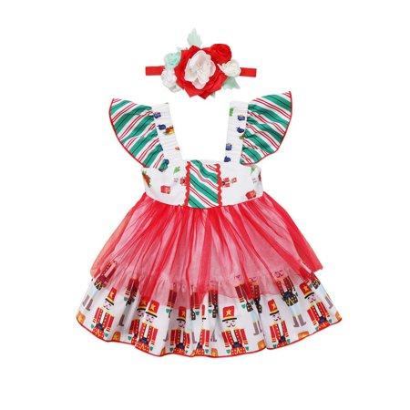 Princess Christmas Dresses (Infant Baby Toddler Girl Dress Flower Princess Party Xmas Tulle TUTU)