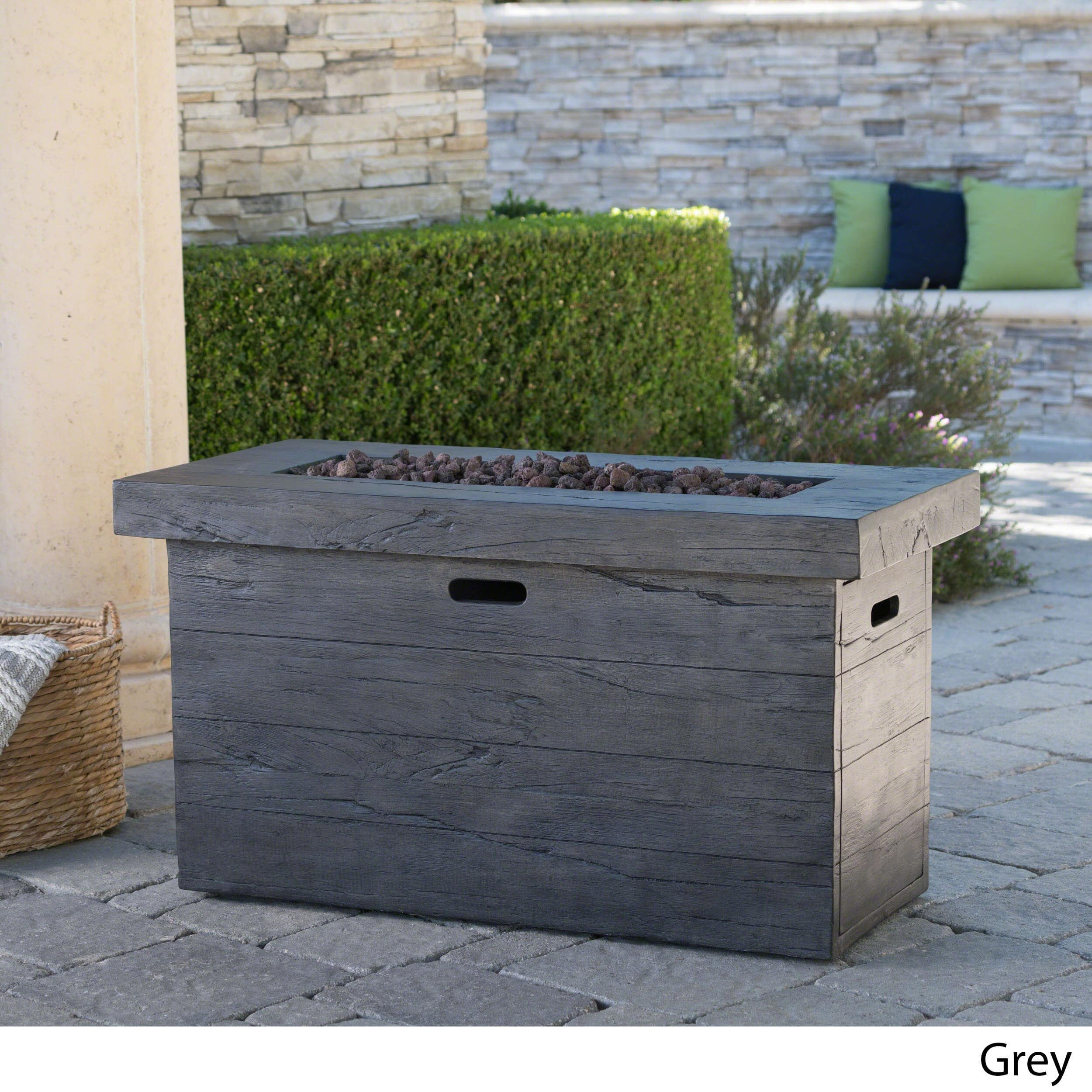Christopher Knight Home Custer Outdoor Rectangular Propane Firepit Table with Lava Rocks... by Overstock