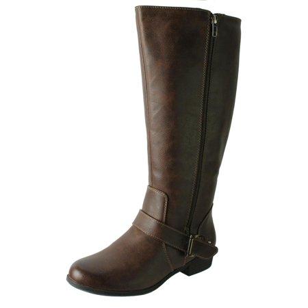 1194b2350d8c Natural Soul - Natural Soul Womens Vicker Faux Leather Wide Calf Riding  Boots - Walmart.com