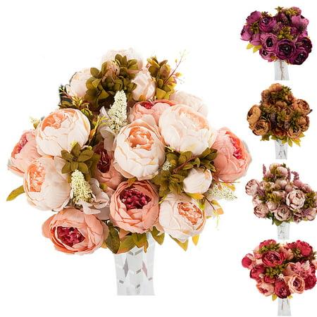 CUH 6 Heads Silk Flower Peony Bouquet European Artificial Flowers for Bedding Wedding Office Living Room Meeting Room Garden Floral - Dead Flower Bouquet Halloween