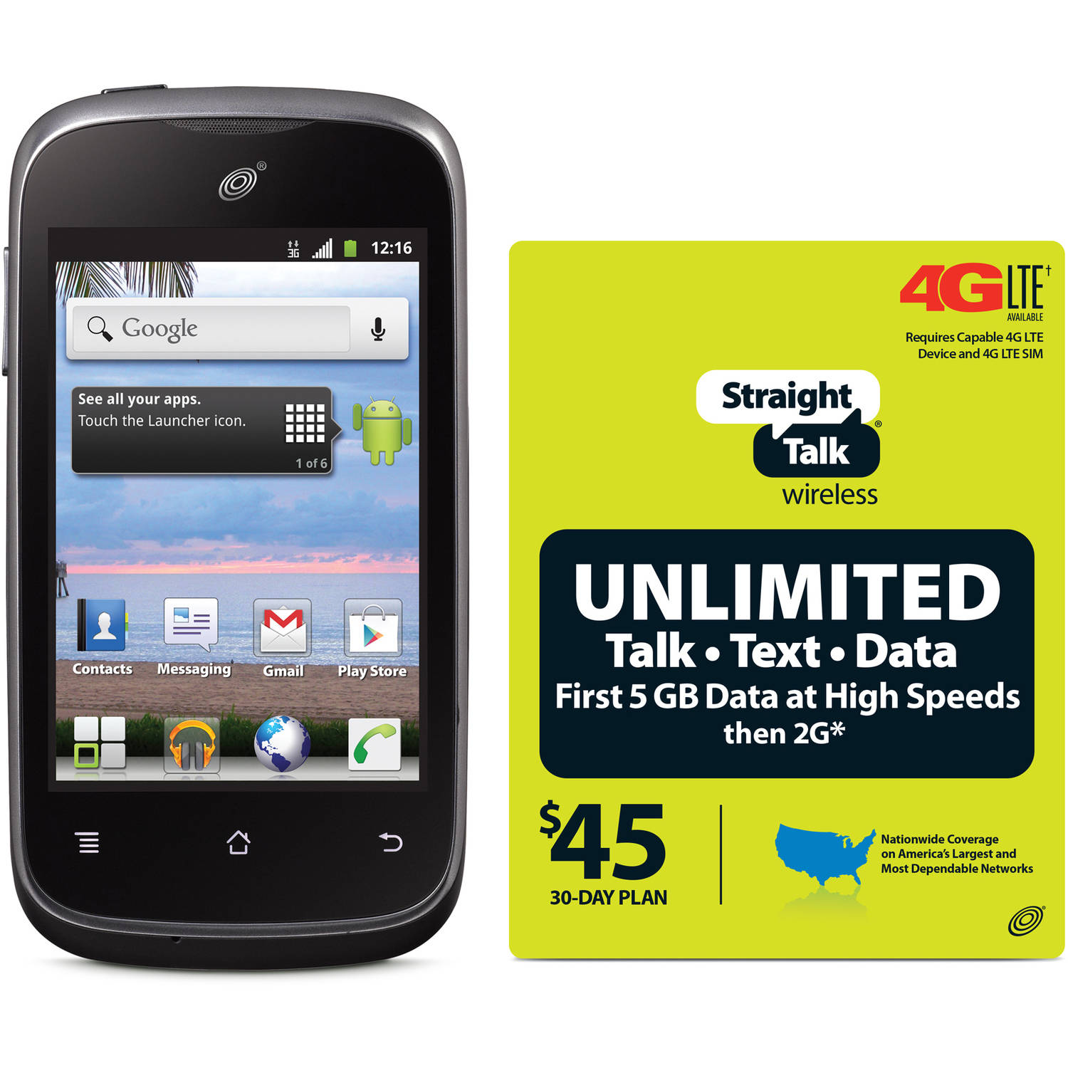 Straight Talk Huawei Ascend Y H866C Prepaid Cell Phone with Bonus $45 Plan, Refurbished