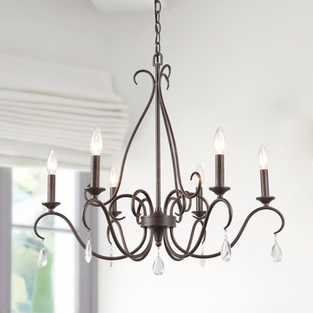 LNC Transitional Chandelier for Living Room, 6-Light Kitchen Island Lighting for Dining Room with Crystal Pendant, Rustic Industrial Lights for Inhoor Home Decro