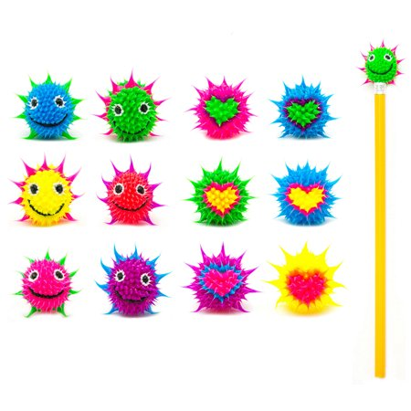 Frogsac 12 Pieces Smile/Heart Spiky Silicone Pencil Toppers - Great Party Favors