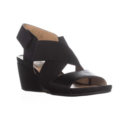 Womens naturalizer Cleo Wedge Strappy Sandals, Black Leather, 8.5 W US