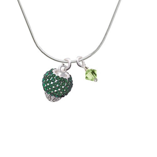 Green Crystal Sparkle Spinner Imitation Pearl Bicone Crystal Necklace by Delight and Co.
