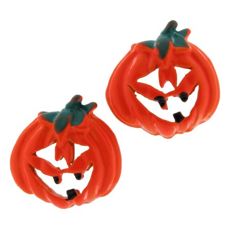 Small Jack O-lantern - Small Orange Plastic Jack O'Lantern Pierced Earrings Halloween