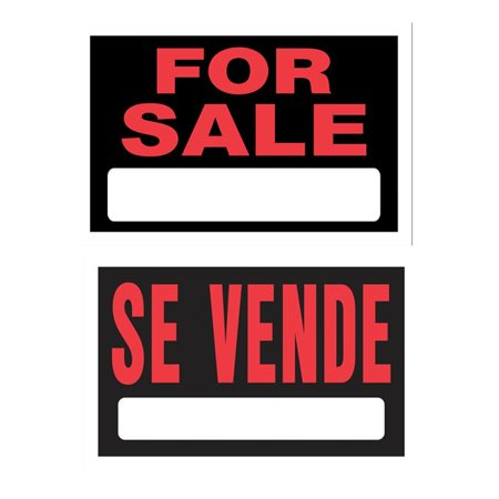Hillman Group 848781 8 x 12 in. Double Sided English & Spanish for Sale Sign  Black -  6 Piece - image 1 of 1