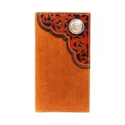 Nocona Belt N54894217 Rodeo Filigree Tooled Corner & Concho Wallet, Brown - One Size
