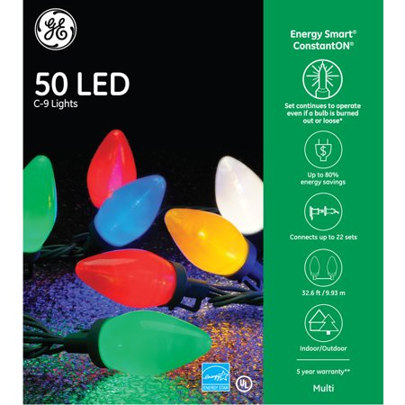 Energy Star 2 Light (GE Energy Smart 50-Count 32.6-ft Constant Warm White Multicolor C9 LED Plug-In Holiday String Lights ENERGY)