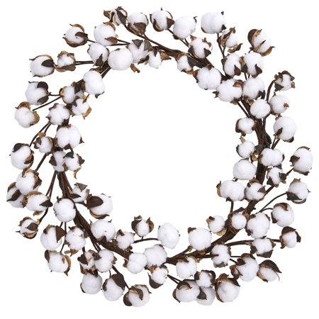 Nearly Natural 20 in. Cotton Ball Wreath](Cotton Boll Wreath)