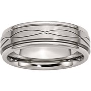 Stainless Steel Polished/Brushed Criss-Cross Design 7mm Ridged Edge Band, Available in Multiple Sizes