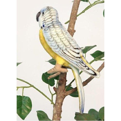 "Hansa Parakeet Budgerigar Bird Plush Toy Blue & Yellow 5"""