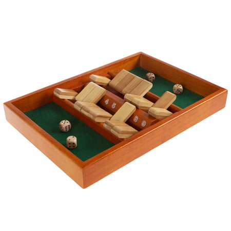 Shut The Box Game-Classic 9 Number Wooden Set with Dice Included-Old Fashioned, 2 Player Thinking Strategy Game for Adults and Children by Hey! - Dice Rolling Box