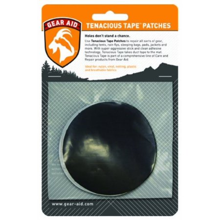 "Tenacious Tape Tent Repair Patches 3"" Round (2 Black / 2 Clear)"