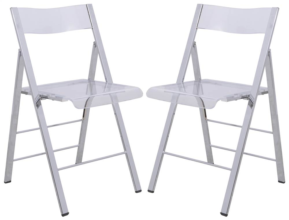 Modern Acrylic Folding Chair In Clear  Set Of 2