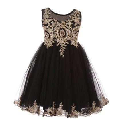 Girls Black Gold Sparkle Rhinestone Adorned Tulle Christmas Dress](Girls Black Christmas Dress)