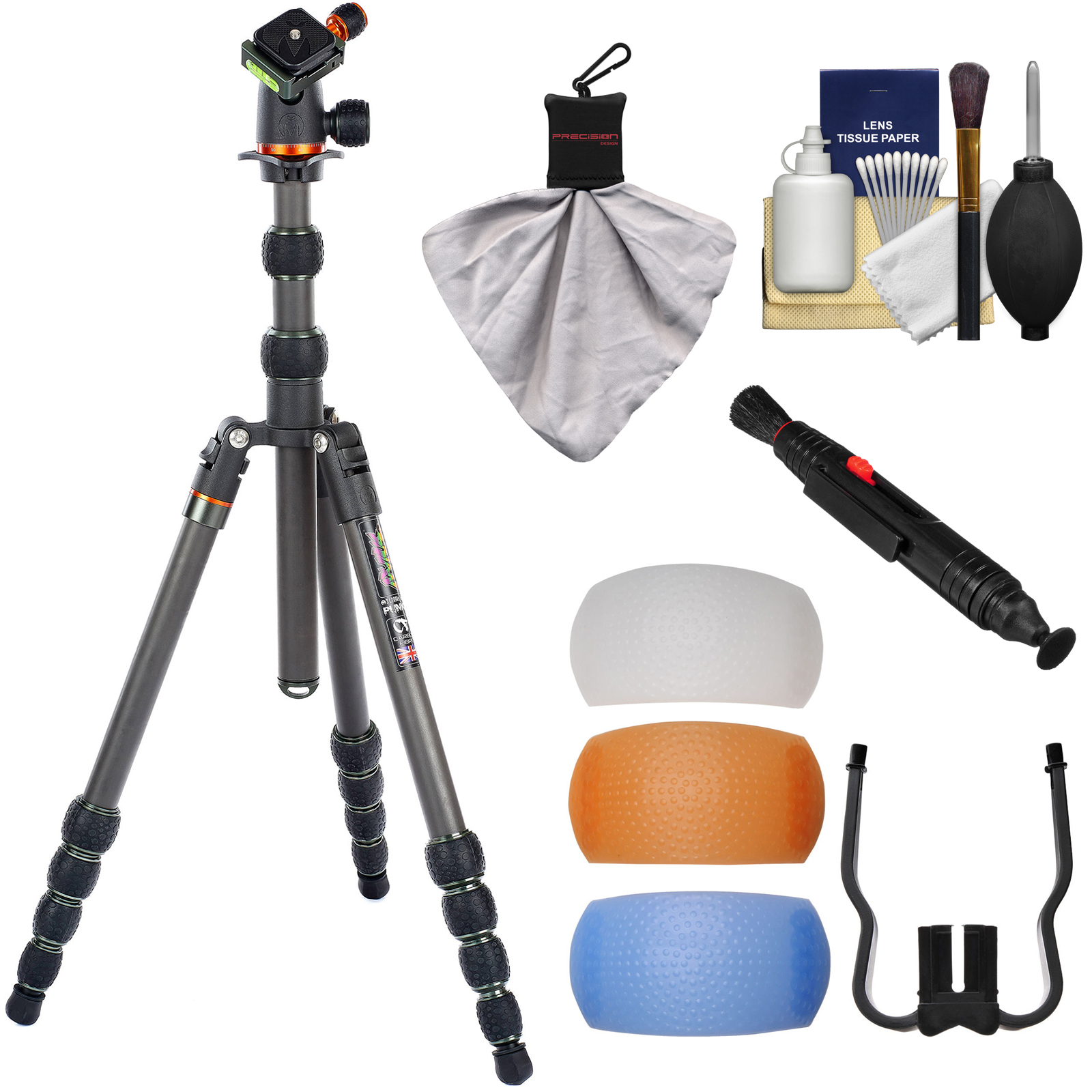 """3 Legged Thing Brian 74"""" Carbon Fiber Tripod with AirHed Neo Ballhead & Case (Black/Grey) with Flash Filter Set + Cleaning Kit"""