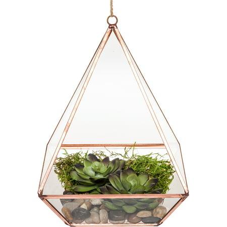 Mindful Design Geometric Diamond Desktop Garden Planter Terrarium (Rose Gold)](Geo Terrarium)